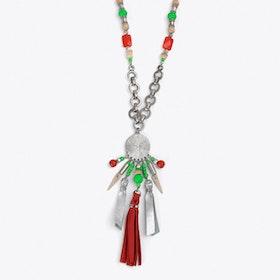 Tribal Charm & Tassel Necklace in Orange
