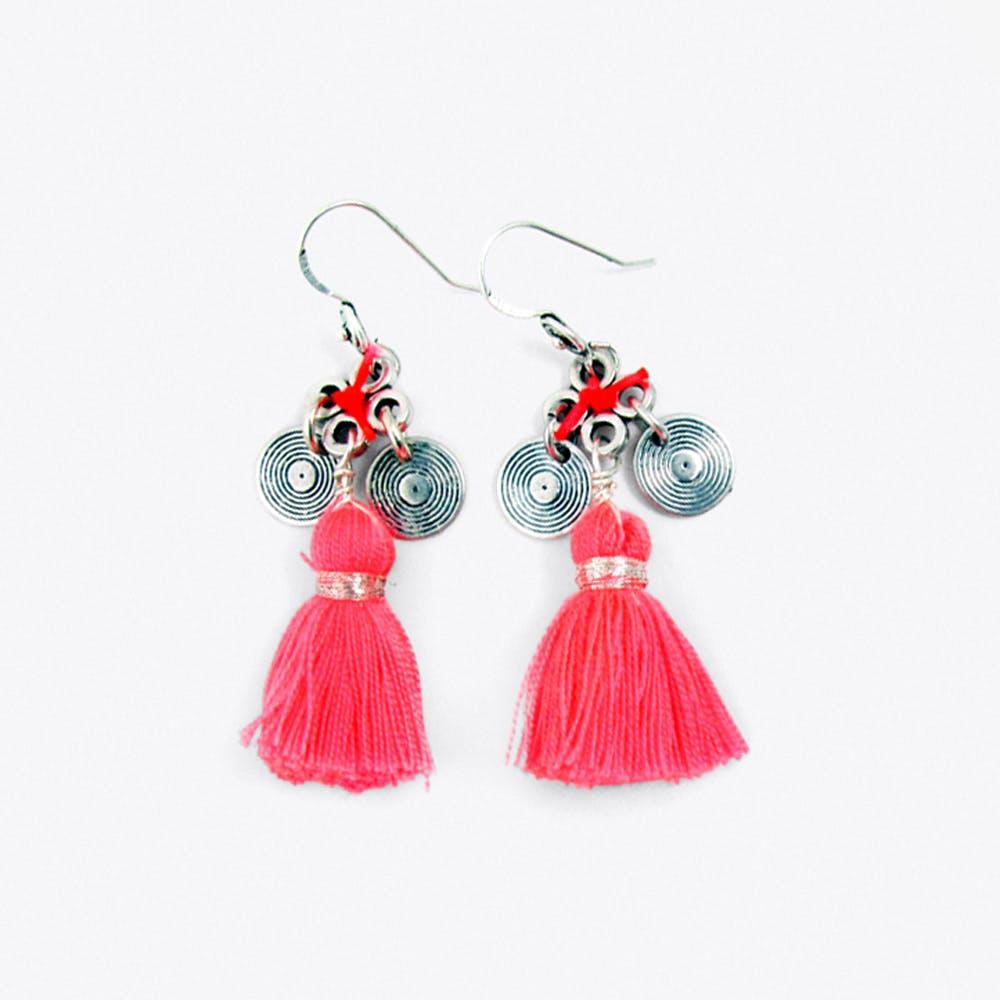 Tassel Charm Earrings in Pink