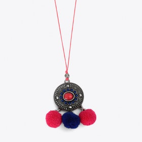 Pom Pom Charm Necklace in Pink & Blue