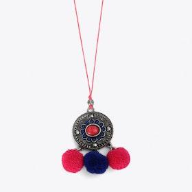 Pom Pom Charm Necklace in Pink & Blue