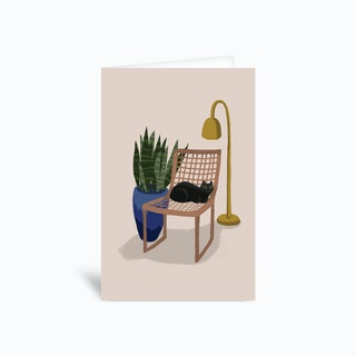 Chair Cat Greetings Card