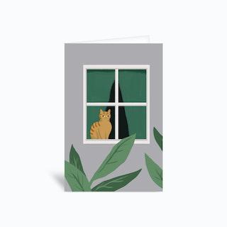 Window Cat Greetings Card