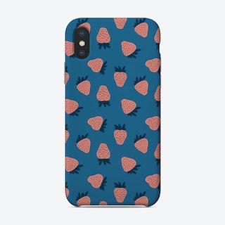 Pink Strawberry Pattern On Blue Phone Case