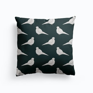 White Bird Pattern On Black Canvas Cushion