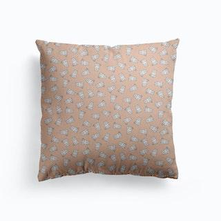 White Cat Pattern On Blush Pink Canvas Cushion