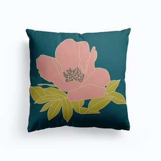 Pink Flower On Teal Canvas Cushion