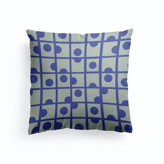 Blue Retro Circles Canvas Cushion