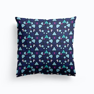 Blue Boom Of Shapes Cushion