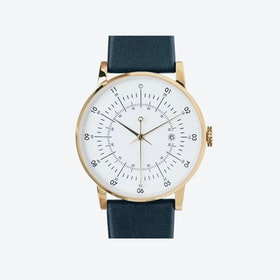SQ38 Plano Polished Gold Watch w/ Navy Leather Strap