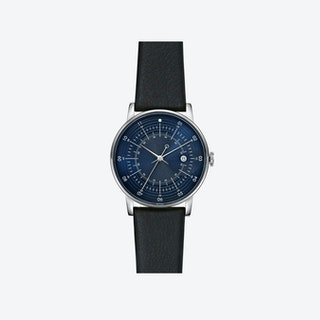 SQ38 Plano Stainless Steel Watch w/ Black Reindeer Leather Strap