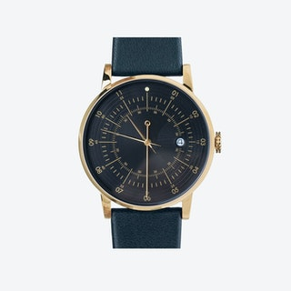 SQ38 Plano Polished Gold Watch w/ Navy Cow Leather Strap