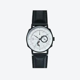 SQ38 Plano Matte Black Watch w/ Black Cow Leather Strap