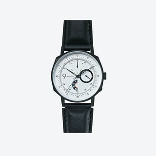 SQ38 Plano Matte Black Watch w/ Black Cow Leather Strap