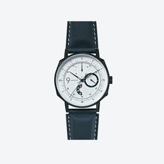 SQ38 Plano Matte Black Watch w/ Navy Cow Leather Strap