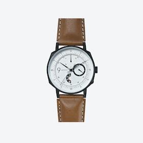 SQ39 Novem Matte Black Watch w/ Camel Cow Leather Strap