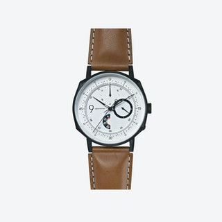 SQ39 Novem Matte Black Watch w/ Camel Cow Leather Strap