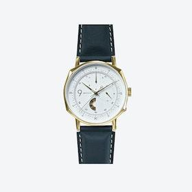 SQ39 Novem Polished Gold Watch w/ Italian Black Cow Leather Strap