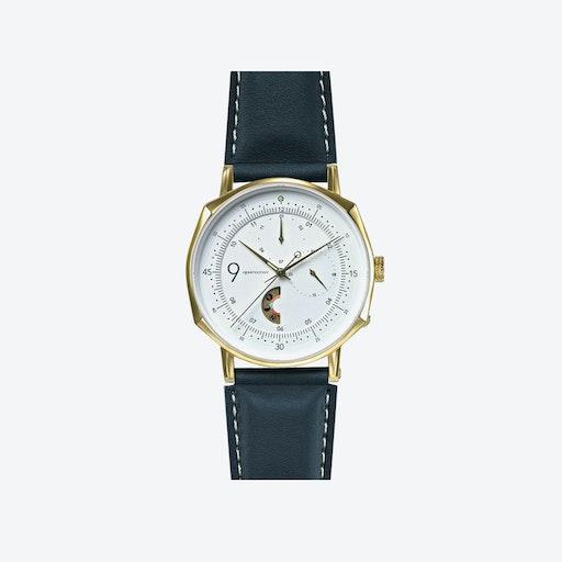 SQ39 Novem Polished Gold Watch w/ Grey Cow Leather Strap
