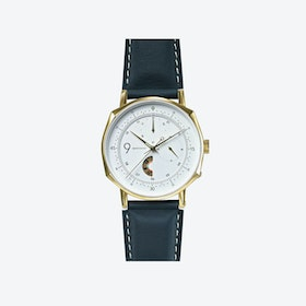 SQ39 Novem Polished Gold Watch w/ Grey Cow Leather Strap