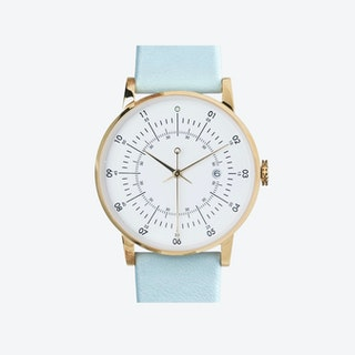 SQ38 Plano Polished Gold Watch w/ Pearl Blue Leather Strap