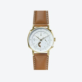 SQ39 Novem Polished Gold Watch w/ Camel Cow Leather Strap