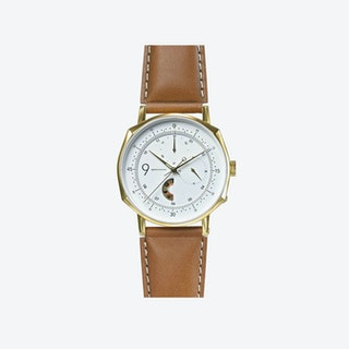 SQ39 Novem Polished Gold Watch w/ Camel Cow Leather Strap