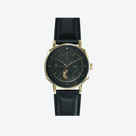 SQ39 Novem Polished Gold Watch w/ Black Cow Leather Strap