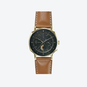 SQ39 Novem Polished Gold Watch w/ Italian Camel Cow Leather Strap