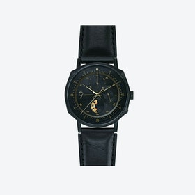 SQ39 Novem Matte Black Watch w/ Italian Black Cow Leather Strap