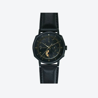 SQ39 Novem Matte Black Watch w/ Italian Black Cow Leather Strap