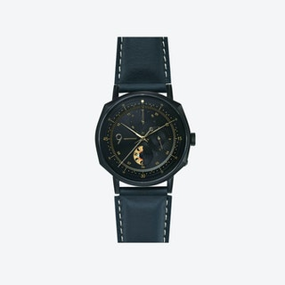 SQ39 Novem Matte Black Watch w/ Italian Navy Cow Leather Strap