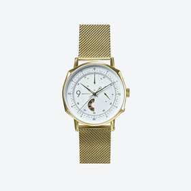 SQ39 Novem Polished Gold Watch w/ Gold Milanese Strap