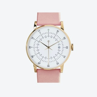 SQ38 Plano Polished Gold Watch w/ Carnation Leather Strap