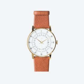 SQ38 Plano Polished Gold Watch w/ Brown Reindeer Leather Strap