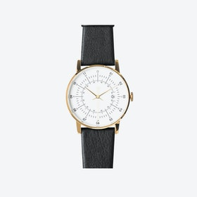 SQ38 Plano Polished Gold Watch w/ Black Reindeer Leather Strap