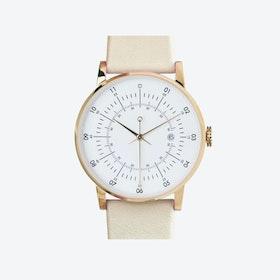 SQ38 Plano Polished Gold Watch w/ Cream Leather Strap