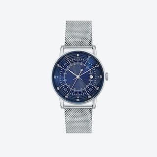 SQ38 Plano Polished Silver Watch w/ Silver Milanese Strap