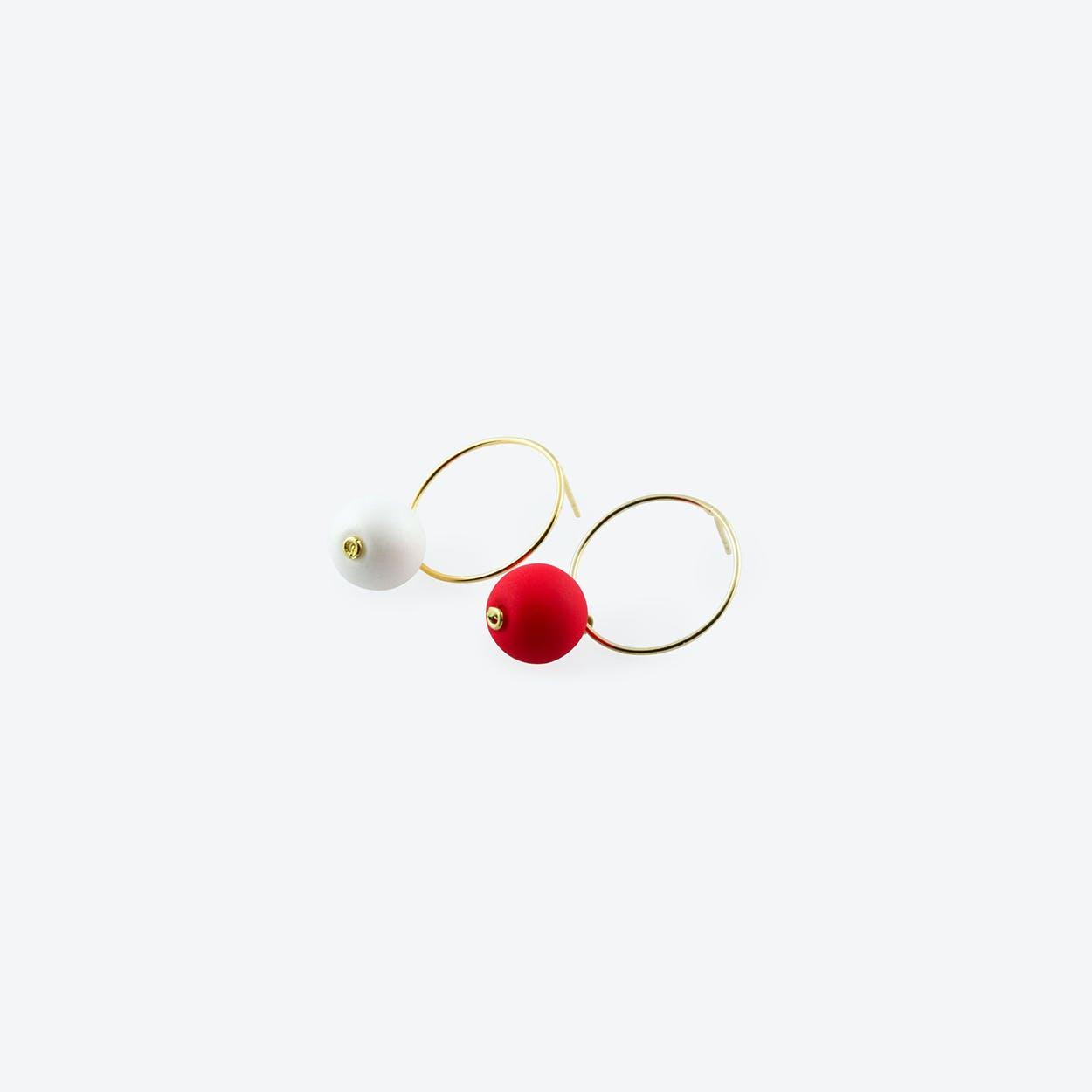Bombon Earrings in Red & White