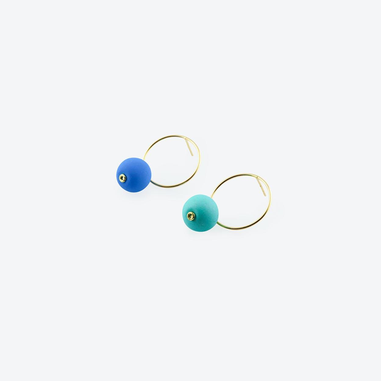 Bombon Earrings in Blue & Turquoise