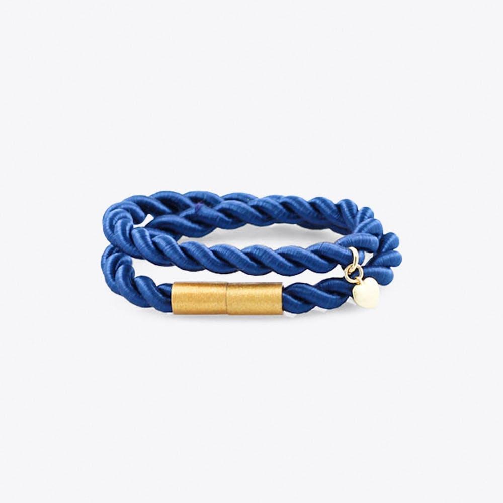 Shiny Ribbon Bracelet in Petrol Blue