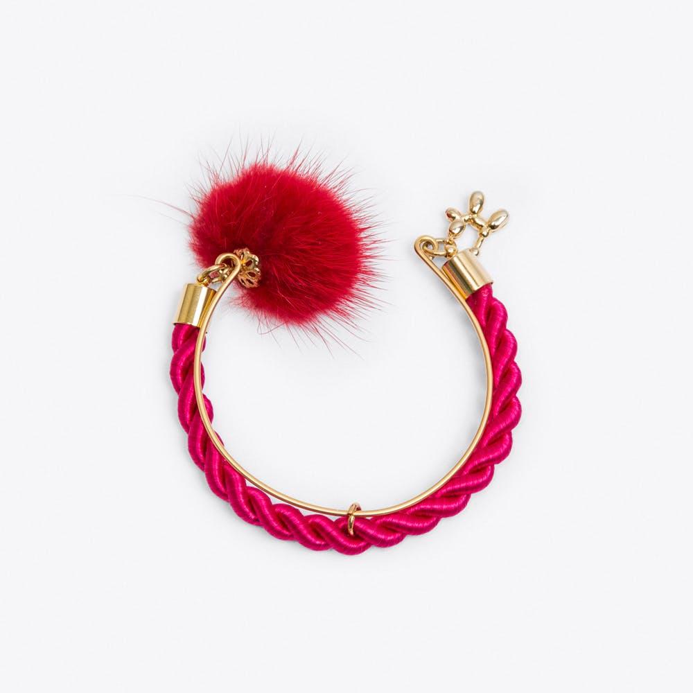 Limited Edition PomPom Bracelet in Raspberry