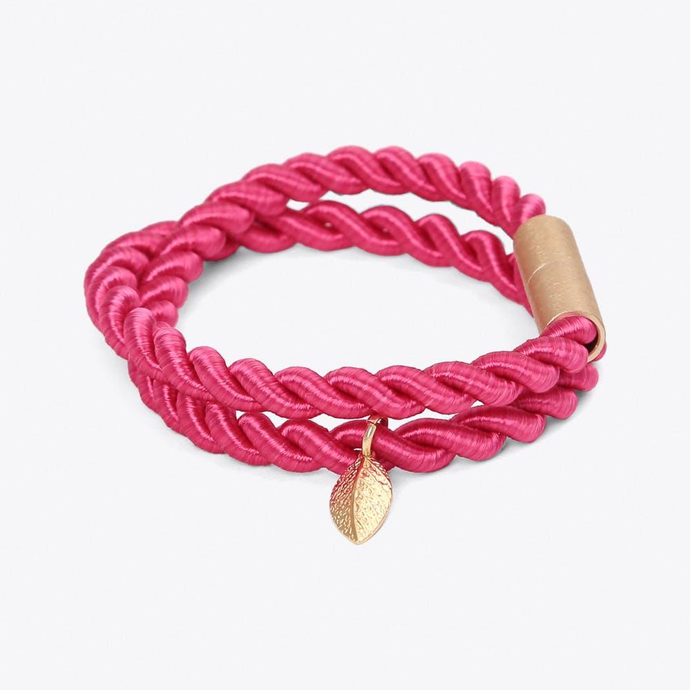 Shiny Ribbon Bracelet in Electric Pink