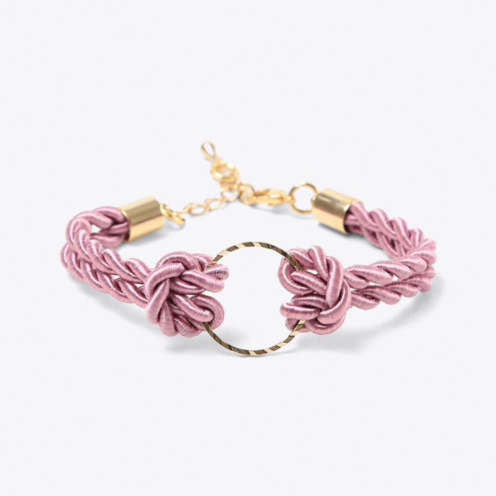 Golden Circle Bracelet in Dusty PInk