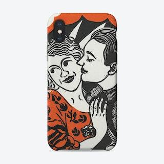 Courting Couple Orange Phone Case