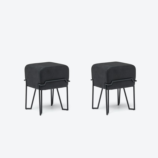 Low BOKK Bar Stool in Black Leather (Set of 2)
