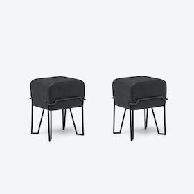 Low BOKK Bar Stool in Black Leather (Set of 2)