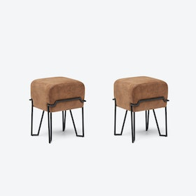 Low BOKK Bar Stool in Brown Leather (Set of 2)