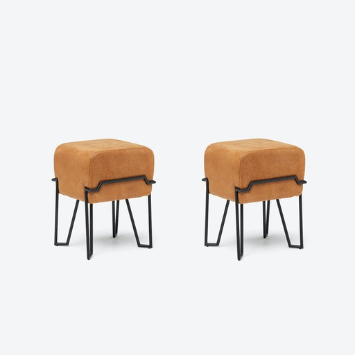 Low BOKK Bar Stool in Cognac Leather (Set of 2)