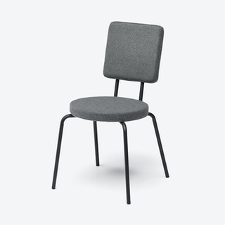 Round Seat and Square Back OPTION Chair in Grey