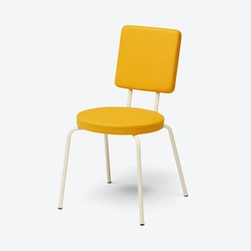 Round Seat and Square Back OPTION Chair in Creme / Yellow
